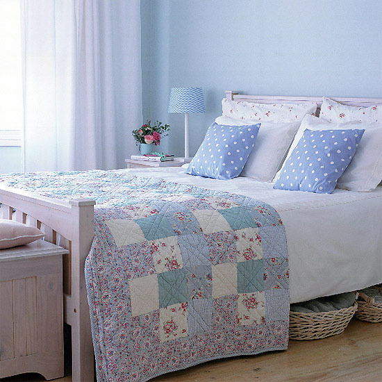 Country bedroom in blue