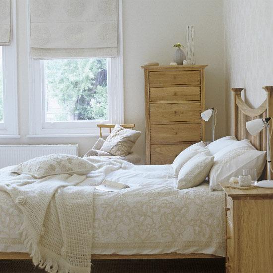 Country bedroom in beige color