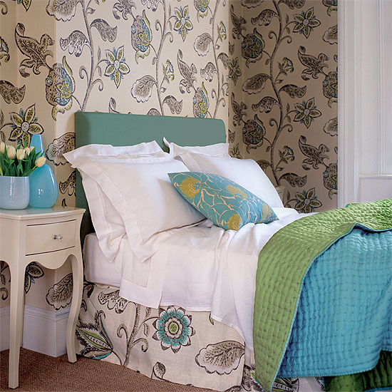 Bedroom with floral wallpaper