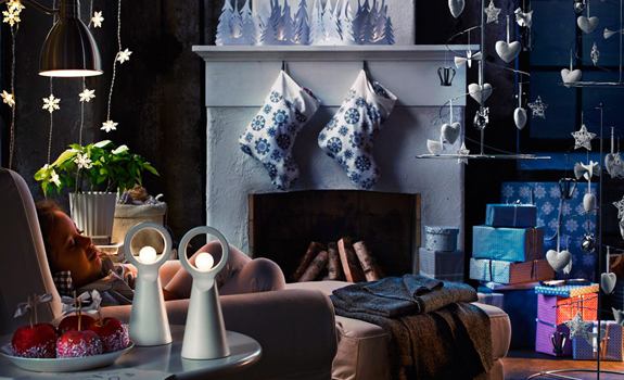 Blue Christmas living room decor