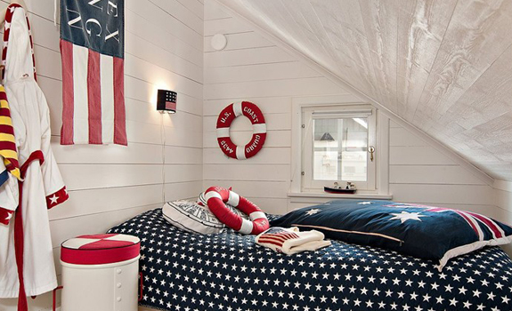 Nautical bedroom interior