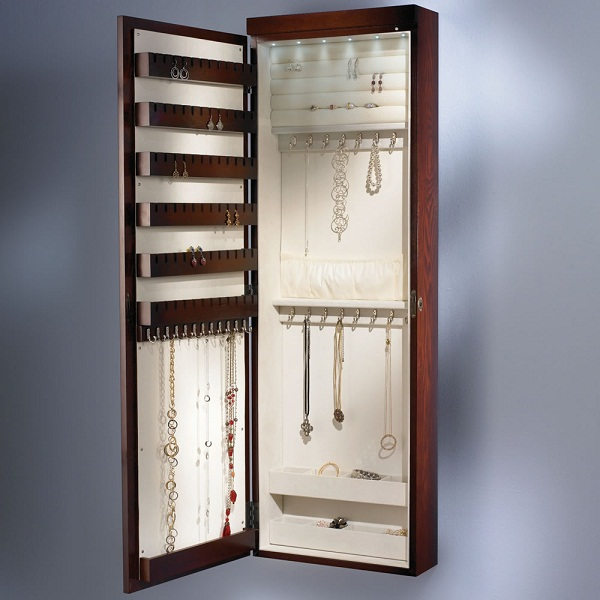 Lighted Jewelry Armoire-open