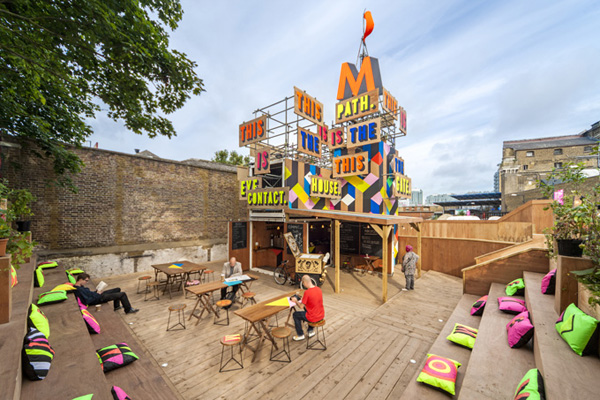 Colorful pop-up cafe in London