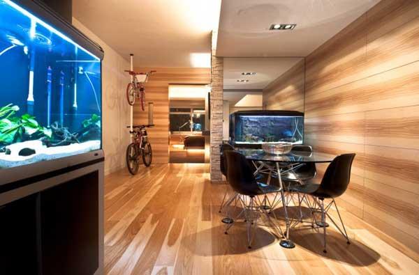 Wooden interior of a Hong Kong apartment