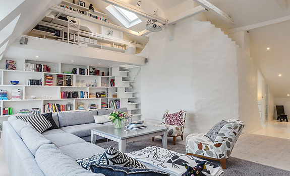 Living room in an attic apartment
