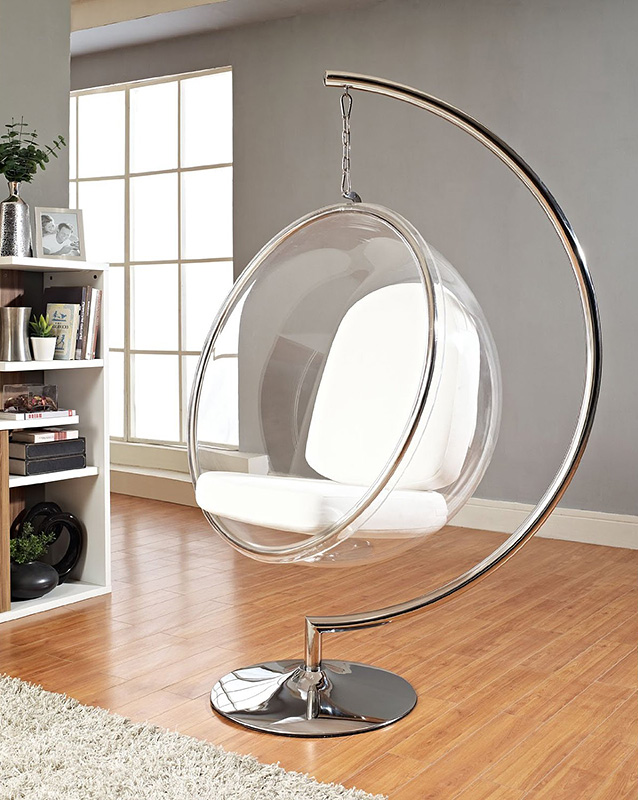 Bubble chair stand with white seat