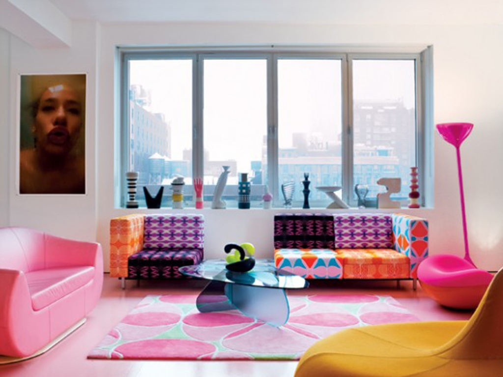 Bold and colorful living room