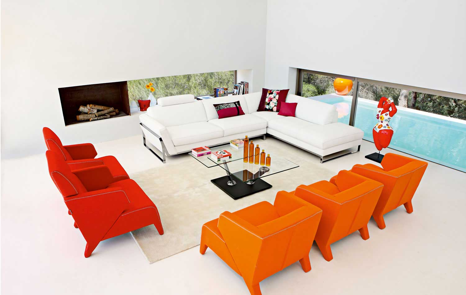 Modern Living Room With Colorful Furniture
