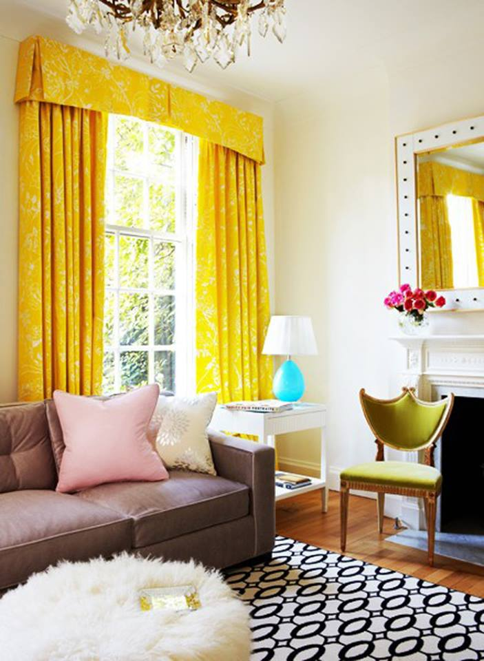 colorful living room with yellow drapes - How To Add Color To A Room