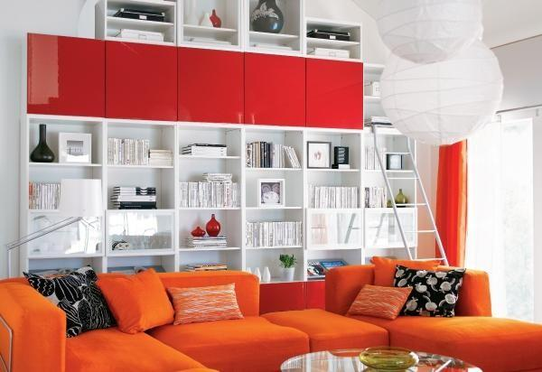 White, red, and orange living room