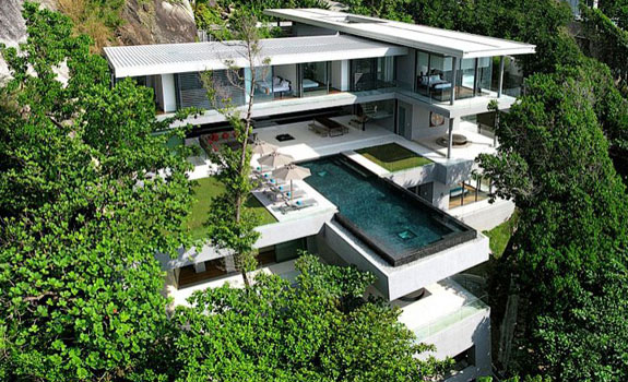 Modern house set on a hill in Phuket