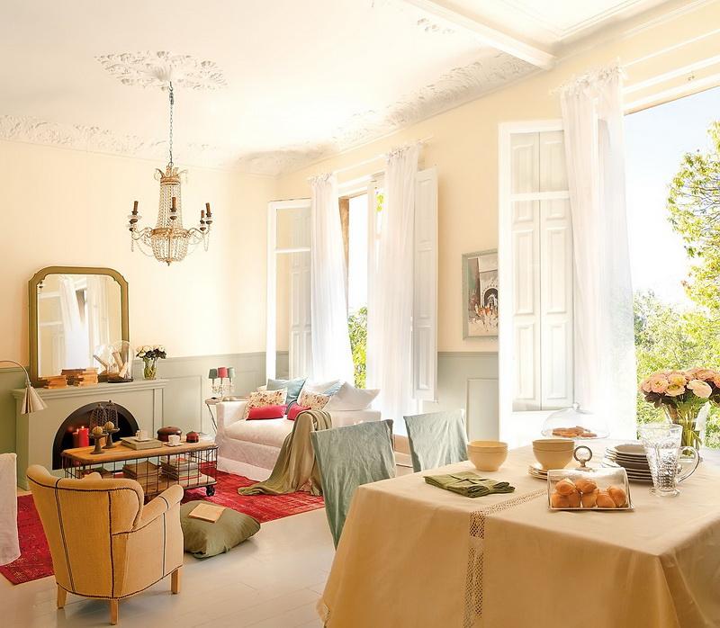 Soft peach house interior
