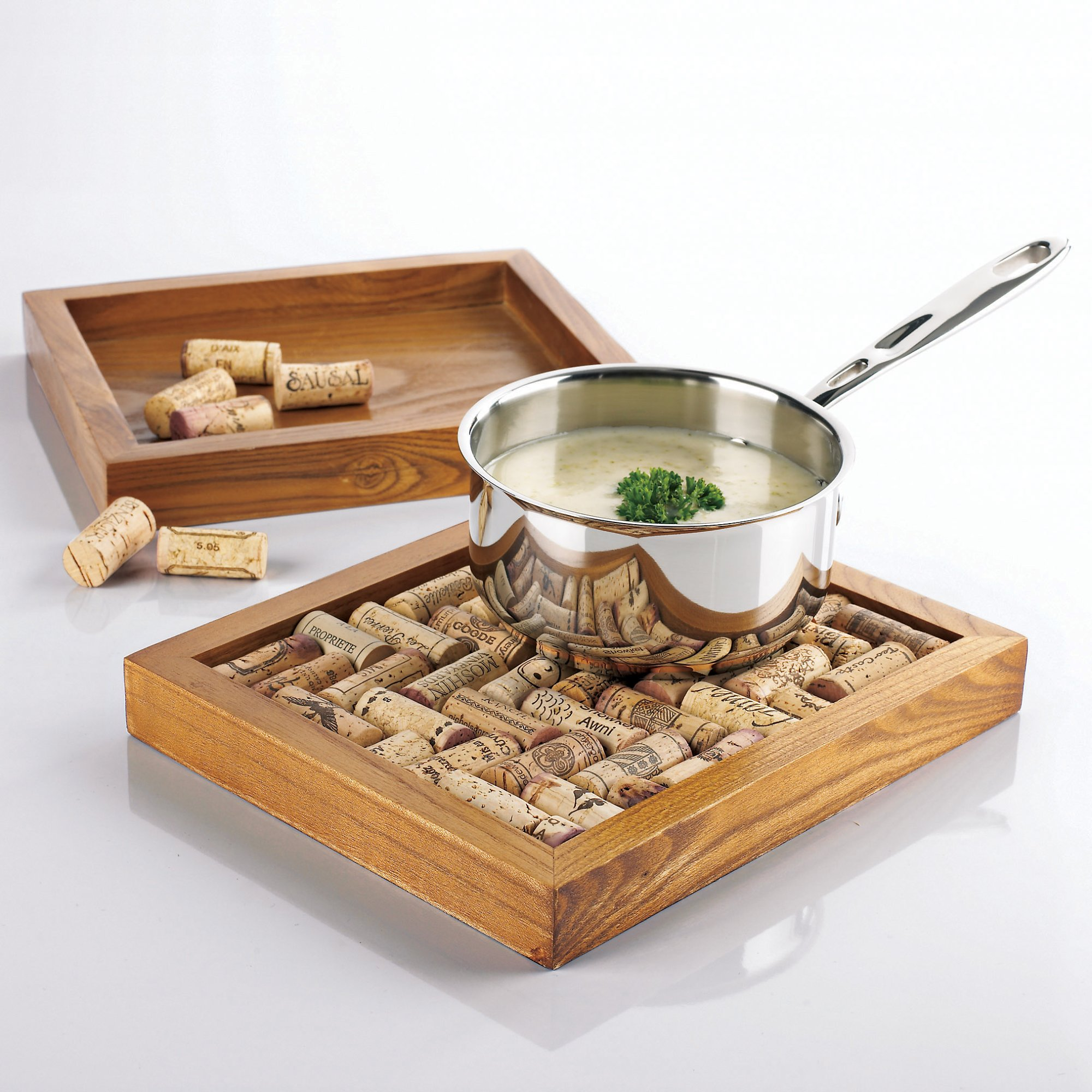 Wine cork trivet kit and a hot pot stand in one