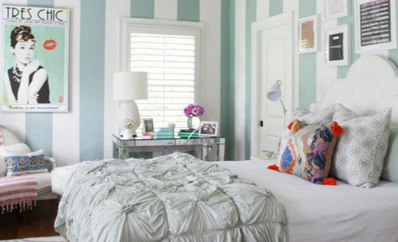 White and turquoise girly bedroom