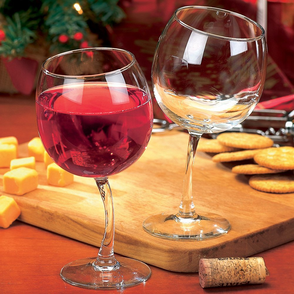 Large tipsy wine goblets