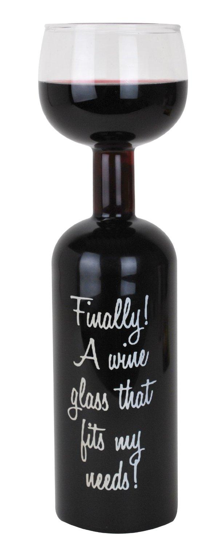 Ultimate gag wine bottle glass
