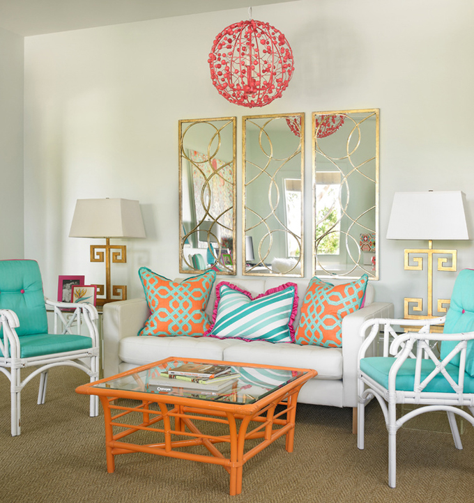 Turquoise and orange: a vivid interior