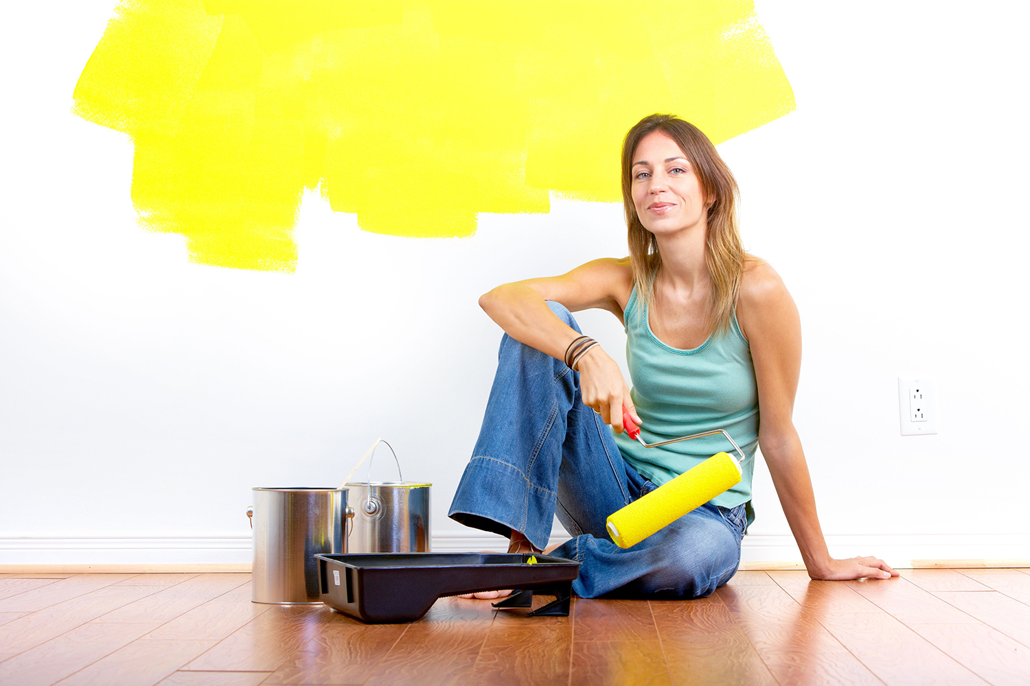 Painting a wall in yellow