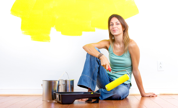 Painting the wall in yellow