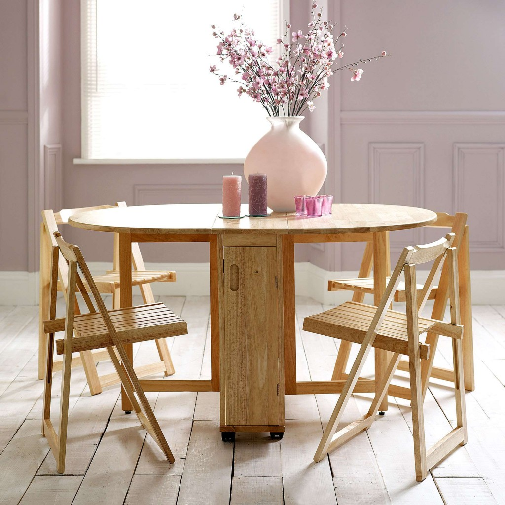 Choose a folding dining table for a small space adorable for Small kitchen tables and chairs for small spaces