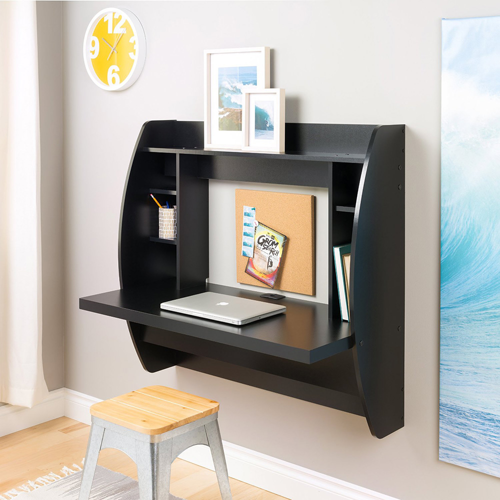 Modern floating desk mounted on a wall