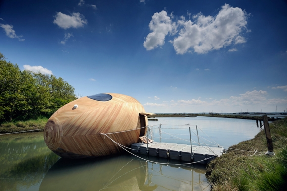 Traveling down the river in this egg boat