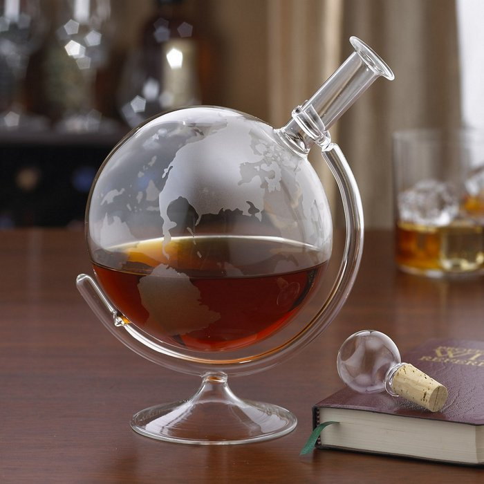 World globe decanter