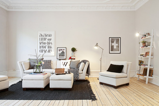 Adorable white transitional apartment