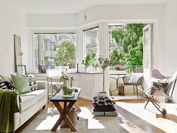 Home with fresh decor and a green and grey color scheme