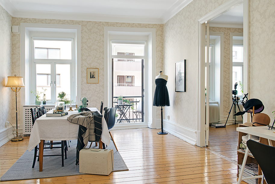 Nordic style home with lovely patterned wallpapers