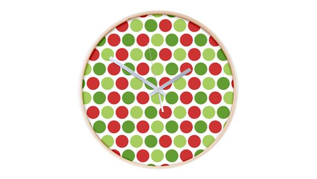 Christmas polka dots wall clock