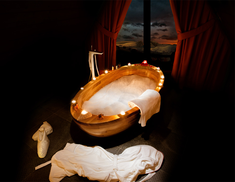 Romantic wooden bathtub