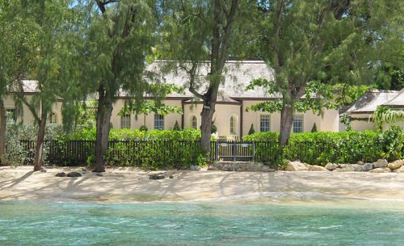 Luxurious white villa on the beach