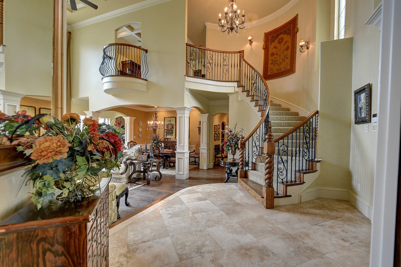 Winding staircase in a traditional home