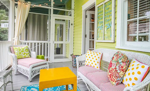Colorful cottage porch