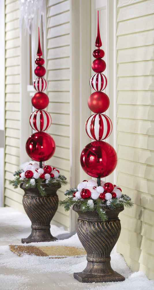 Christmas Topiary Decor.Ornamental Christmas Ball Finial Topiary Stake Adorable Home
