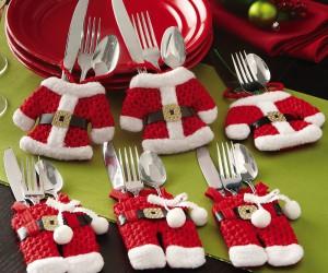 Christmas themed Santa suit silverware holders