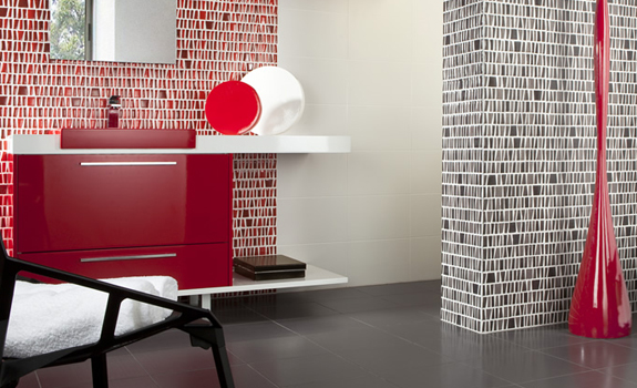 Black, white and red bathroom