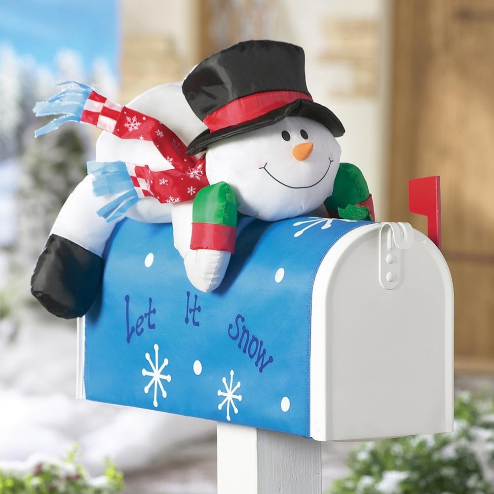 Decorative snowman mail box cover