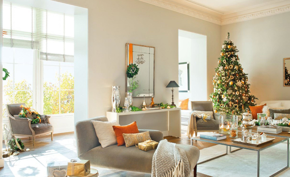 Bright living room with Christmas decoration