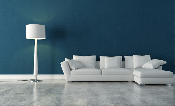 Blue wall and white sofa