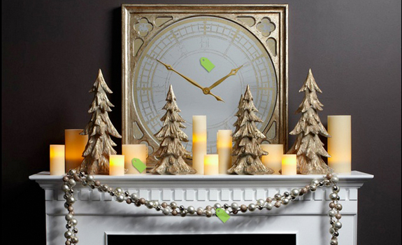 Christmas and New Year mantelpiece decoration