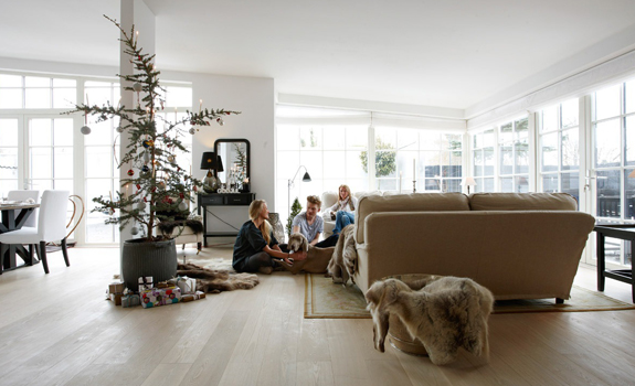 Modern Nordic home decorated for Christmas