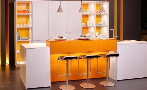 Contemporary white and orange kitchen design