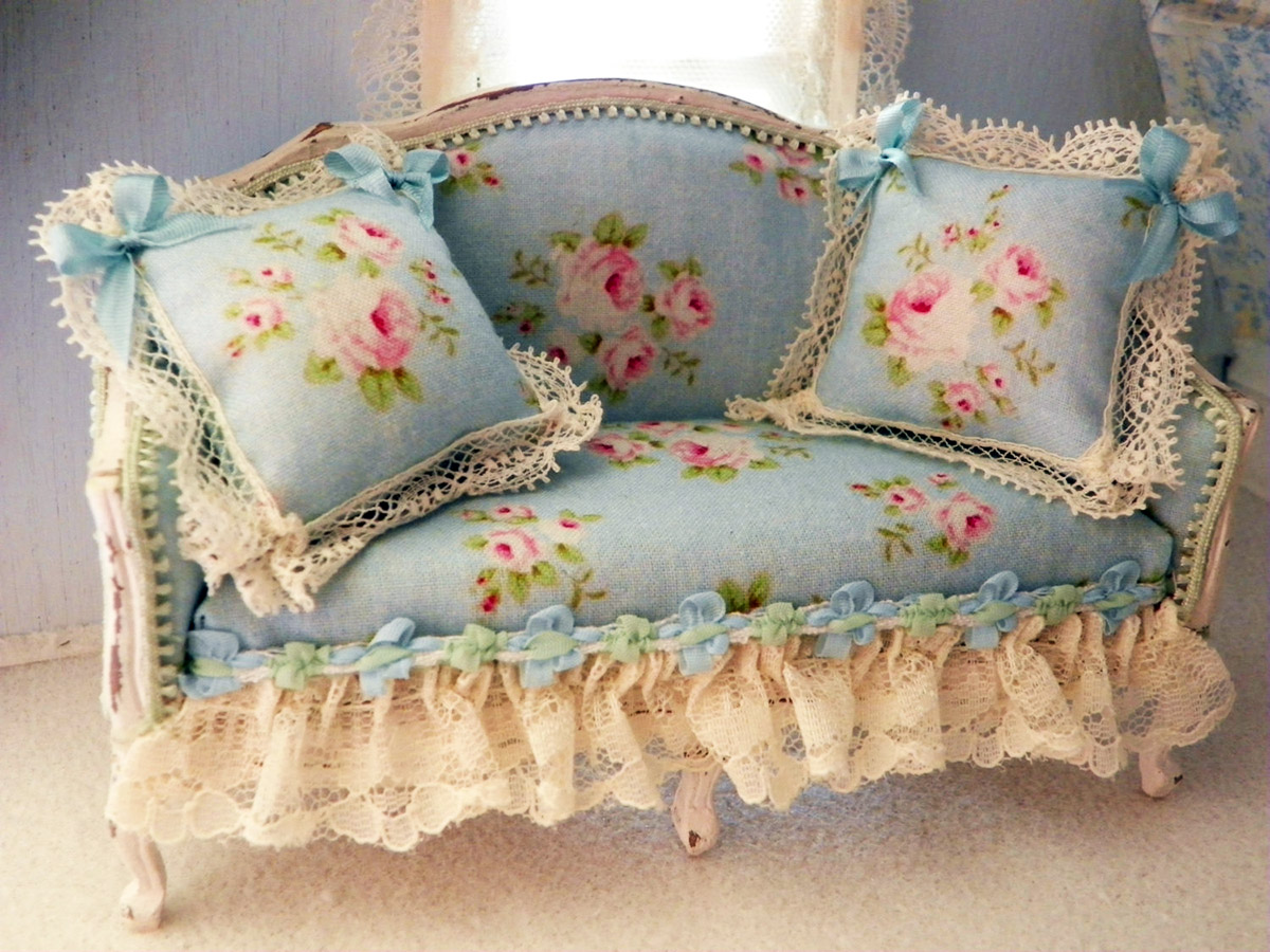 Miniature shabby chic sofa