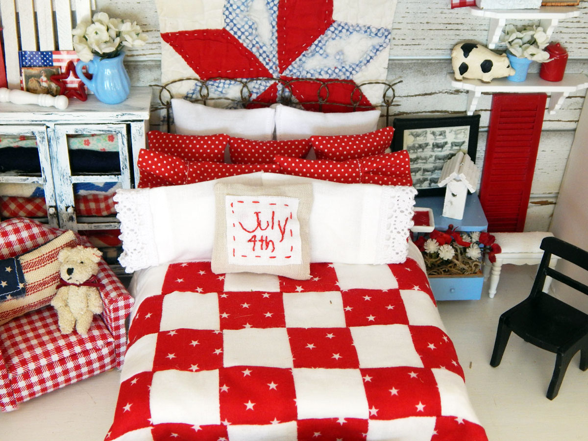Dollhouse bedroom in red