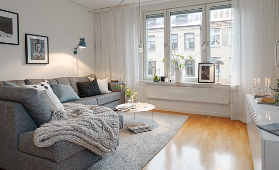 Nordic home with simple monochrome interior