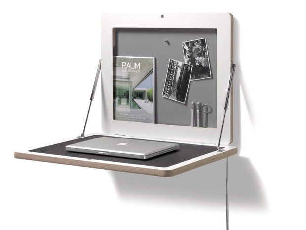 Space saving flat frame desk
