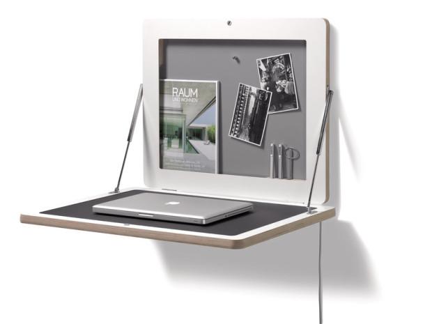 Space saving flat frame desk