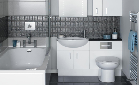 Small bathroom in grey and white